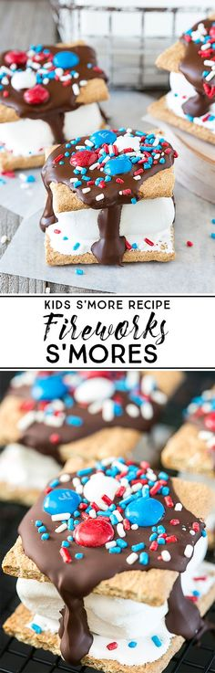 Looking for a s'more recipe for kids? These Fireworks S'mores will do the trick this July 4th. They're packed with flavor -- and sprinkles. livelaughrowe.com