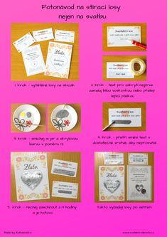 Jak si vytvořit stírací los - Svatební šílenství Wedding Details, Cardmaking, Diy And Crafts, Wedding Day, Cards, Program, Scrapbooking, Beauty, Ideas
