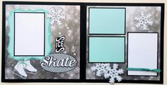 Premade scrapbook page ice skating  12x12 premade by ohioscrapper