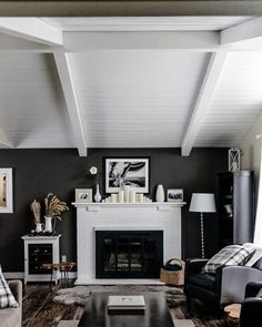 Great Room With White Painted Wood Ceiling On Ideas