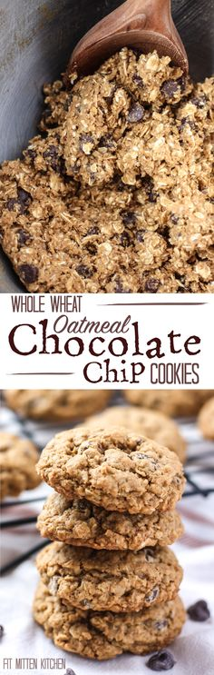 Whole Wheat Oatmeal Chocolate Chip Cookies [Fit Mitten Kitchen] Some healthier, wholesome swaps using half coconut oil and coconut sugar with a little bit of brown sugar. Classic flavor, thick and chewy!