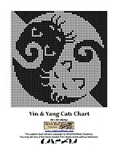 Ying & Yang Cats Chart for knitting, crochet and cross stitch in two colours - also suitable for filet crochet. 60 x 60 stitches. Includes one black and white overview chart with chart with four zoom charts.