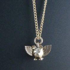 Flying Pig Necklace Bronze Flying Pig Pendant on 24 by LostApostle, $55.00