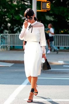 White pencil skirt  | For more style inspiration visit 40plusstyle.com