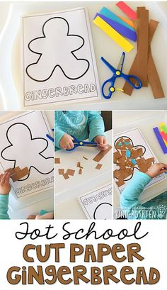 Practice scissor skills with this gingerbread cut and glue activity. Perfect for tot school, preschool, or kindergarten! Or do this with Snowmen. Gingerbread Man Activities, Gingerbread Crafts, Holiday Activities, Activities For Kids, Gingerbread Men, Gingerbread Man Kindergarten, Christmas Toddler Activities, Gingerbread Stories, Cutting Activities