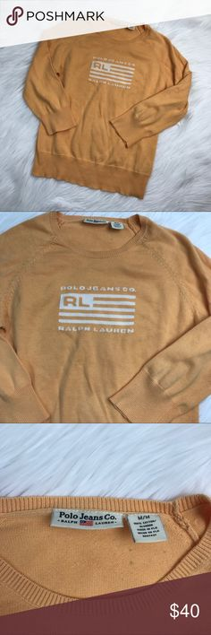 Vtg Ralph Lauren polo orange sweater shirt Size medium in very good vintage condition! Length-23 bust-17 pit to pit *** no modeling or trades! Polo by Ralph Lauren Sweaters Crew & Scoop Necks