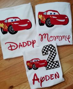 Mom/Dad Lightning McQueen Cars Disney Pixar Birthday Number Shirt Embroidery (Personalizing Included) Race Track Nascar (One Shirt Listing) Cars Birthday Parties, 2nd Birthday, Birthday Ideas, Carrera Cars, Splash Party, Tow Mater, Cars Characters, Birthday Numbers, Shirt Embroidery