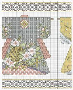 laboresdeesther Punto de cruz gratis : Gráfico de kimonos Japoneses