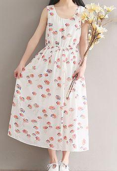 Women loose fitting over plus size retro flower chiffon dress long tunic fashion #Unbranded #dress #Casual