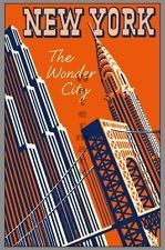 "VIntage Travel Poster ""New York - Wonder City2"" 24""x36"""