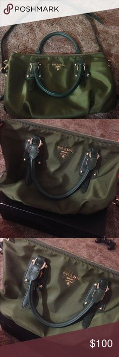 Inspried Desinger bag (PRADA) High Quality Class A, Nylon Prada Bag, only used once.. Pretty Satchel bag! Buy it now ship out tomorrow! Olive Green Color Prada Bags Satchels