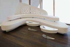 lounge Public Library Design, Zaha Hadid Interior, Tv Decor, Home Decor, Counter Design, Curved Sofa, Clinic Design, Wardrobe Design, Living Room Chairs