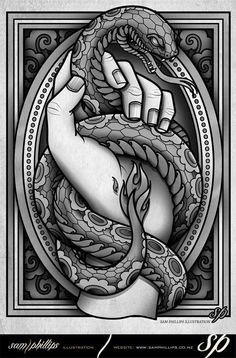 Snake illustration - nicely framed, similar to style of #Andreas Pries // Sam Phillips