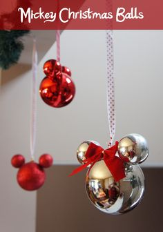 Mickey Christmas ornaments from Dolled Up Design. Use plain plastic ornaments to created these Disney themed Christmas tree decorations. Link included instructions.