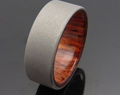 Titanium and wood ring Cocobolo waterproof by 2ndstreetringcraft