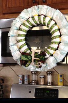 Monkey diaper wreath - for Emma