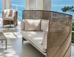 Esedra High-Back Sofa by Ethimo and designed by Luca Nichetto House Beautiful, Beautiful Homes, Outdoor Sofa, Outdoor Furniture, Outdoor Decor, Rattan, Wicker, Cane Sofa, Classical Architecture