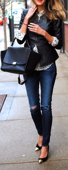 Street style | Leather jacket, polka dots shirt, jeans, handbag