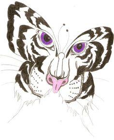 Butterfly Tiger Tattoo Design