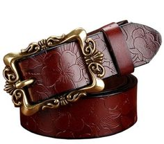 Fashion Wide Genuine leather belts for women Vintage Floral Pin buckle Woman belt High quality second layer Cow skin jeans strap Wide Leather Belt, Leather Buckle, Leather Belts, Cow Leather, Vintage Leather, Women's Belts, Cow Skin, Motif Floral, Floral Design