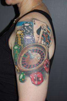 Casino gambling tattoo on left arm - tattoos book - tattoos designs. Neue Tattoos, Body Art Tattoos, Sleeve Tattoos, Tribal Tattoos, Tatoos, Live Roulette, Roulette Game, Gambling Games, Gambling Quotes