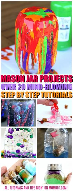 Mason Jar Projects: 20 Mind Blowing Ideas to Craft Today, all tutorials unique to MomDot and located right here!  #masonjars #crafting  #tutorials #masonjargifts  #masonjarcraft