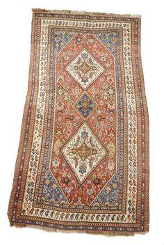 Woolley and Wallis - Qashqai rug, Fars region, early 20th century, 235 x 123cm.