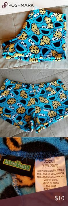 Cookie Monster Lounge Shorts NWOT Sz 2XL/XXL Super cute Sesame Street Cookie Monster lounge shorts. New without tags. Soft fleece.   Smoke free home but we do have pets. Sesame Street Shorts