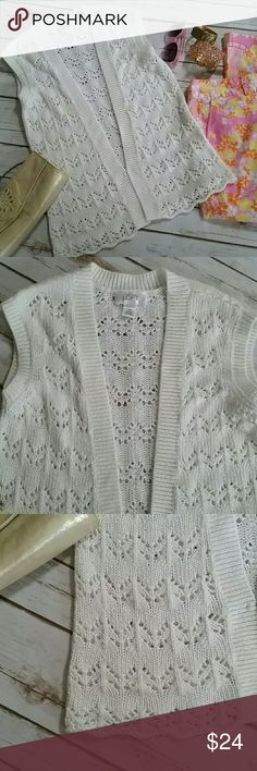 "Ann Taylor Loft Vest Lovely, white colored crochet /knitted vest. Material has a ""shimmer"" woven into it, just a little special detailing. Single front clasp. Great worn over any t-shirt or blouse. Size Small, good condition. Perfect for Summer! Ann Taylor Loft Sweaters"