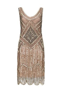 Edith rose & gold beaded dress with sequins