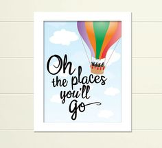 DR. SEUSS QUOTATION - OH, THE PLACES YOULL GO! Dream for every child. This colorful, inspirational print is ideal for celebrating elementary graduation (or older), nursery, childrens room or gift. Instant digital downloadable art. And, whos not a fan of Dr. Seuss?!  This listing is for a High Quality 300 dpi JPG file of this artwork. (Sizes: 8 x 10, 11 x 14, 16 x 20)* No printer?...No Problem. Contact us for a printed out quote ready to be framed.  Easy, step-by-step to download and print…