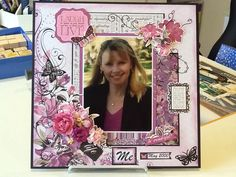 A page using Kaisercraft 'Violet Crush'. Baby Scrapbook, Scrapbook Pages, Scrapbooking Layouts, Card Ideas, Projects To Try, Mixed Media, Xmas, Photos, Crafts