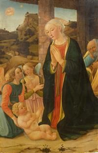COSIMO ROSSELLI (1439 Florence 1507) The Adoration. Circa 1475-78. #Koller #Auktionen #Auctions
