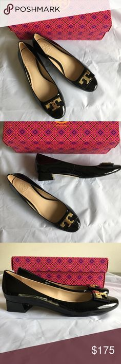 """EUC Tory Burch Gigi Block Heel Black Pumps 6.5 Sixties-inspired Gigi Pump. Crafted in patent leather, it is the perfect middle ground between a heel and a flat. The style has a classic round toe, a flared block heel and a framed T logo inside an enameled plaque — lending graphic detail to the otherwise minimal silhouette. Ideal height for day to evening, it works with everything.  2.5"""" (0.98) leather wrapped block heel Patent leather upper T logo and metal frame at toe Napa leather lining…"""