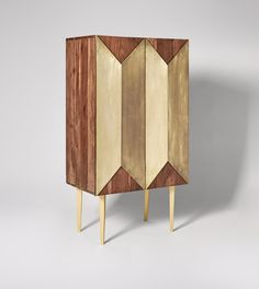 Grace Contemporary Cabinet in Acacia & Brass. Celebrate artisan making at Swoon, hand-crafted designs without the inflated price tag. Contemporary Cabinets, Contemporary Style, Diy Furniture Projects, Upcycled Furniture, Mid Century Cabinet, Drinks Cabinet, Pooja Rooms, Panel Doors, Restaurant Design