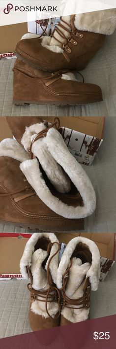 Union Bay faux fur lined wedge suede ankle boots. Fur lined, wedge heel,  cognac UNIONBAY Shoes Ankle Boots & Booties