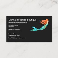 Cute Beach Mermaid Tropical Theme Business Card Beach tropical theme business card template with image of a cute mermaid in the background you can use on our cards or replace with your own logo or image. Designed for a creative, beauty, fashion, or health and wellness themes. #Fashion