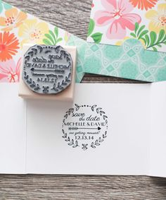 This listing is for a 2.5 x 2.5 laser engraved customized save the date rubber stamp for your invitations. Each stamp is mounted onto an