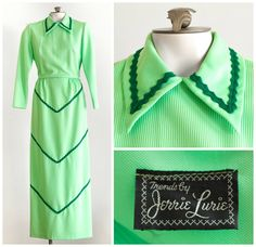 1970s lime green maxi dress with rick rack details by TimeTravelFashions on Etsy