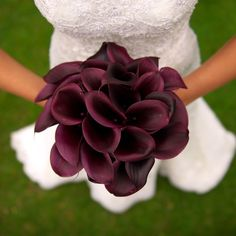 Love the picture angle! burgundy cali lily wedding bouquet for the bride