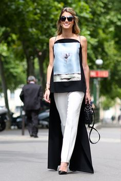 Helena in a ground touching Dior tank and classic white trousers. Paris #HelenaBordon