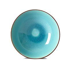 Lagoon - Assiettes creuses-Assiettes Assiette creuse en grès bleu lagon finition craquelée D20cm