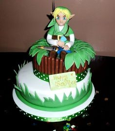 link from zelda birthday cakes | For all you Zelda fans, here's Link sitting on his cake! My nephew was ...