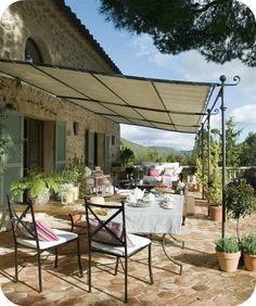 Provencal style awning in Mallorca Spain