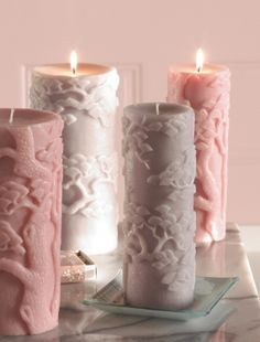 Lush bonzai pillar candles. I would like these very much, thank you.