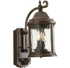 """View the Progress Lighting P5854 Ashmore 2 Light Motion Sensor Photocell Outdoor Wall Sconce with Seedy Glass Shade - 15"""" Tall at LightingDirect.com."""