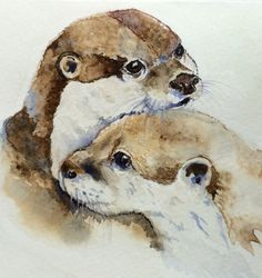 Aquarelle originale de deux loutres de rivière aimante sur qualité eau couleur cartonné. Non seulement est-ce une peinture originale mais une carte