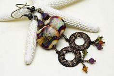 Lampwork Glass Bead Earrings Vintaj by StoneDesignsbySheila