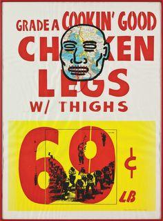 David Wojnarowicz Chicken Legs, 1983. Collage, screenprint and string 33 1/2 x 24 1/2 in. (85.1 x 62.2 cm)