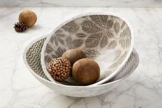Grab this nested set of two mango leaf wood bowls with patterned enamel interiors on sale now! #mudpiegift #bowls #homedecor Fall Home Decor, Autumn Home, Mud Pie Gifts, Desk Plaques, Media Shelf, Desk Light, Wood Bowls, Pen Holders, Sofa Chair